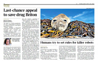 Southern Elephant Seal pup in 'The Times' newspaper